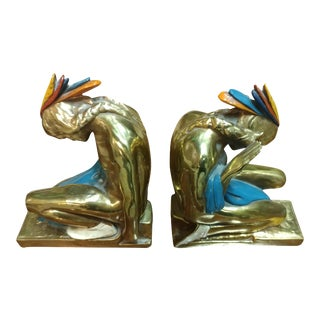 Antique Kneeling Indian Bookends, Circa 1920s- A Pair