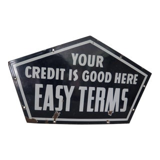 "1940's Enamel ""Credit"" Sign"
