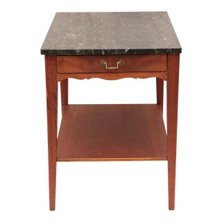 Portoro Black Marble and Mahogany SideTable
