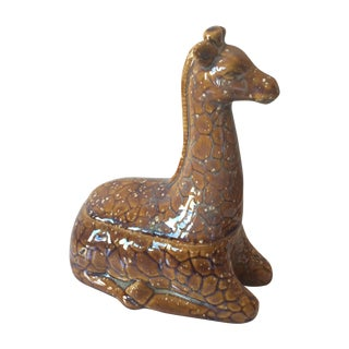 Italian Ceramic Glazed Sitting Giraffe Trinket Box
