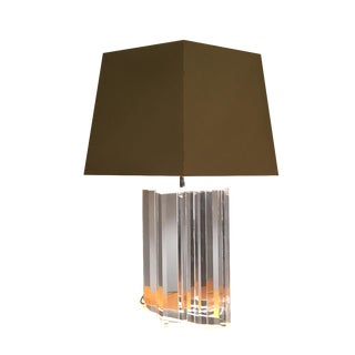 Les Prismatiques Lucite Acrylic Chrome Table Lamp