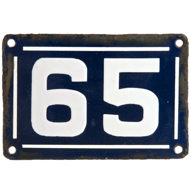 Image of Vintage French Porcelain Enamel House Number