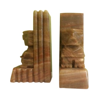 Carved Aztec Onyx Bookends - Pair