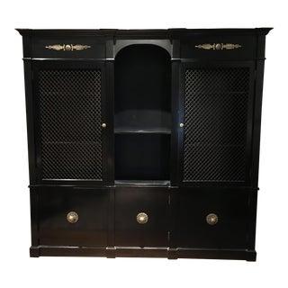 Hollywood Regency Ebonized Breakfront Cabinet