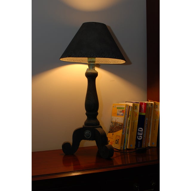 Image of Rustic Metal Rose Turquoise Table Lamp