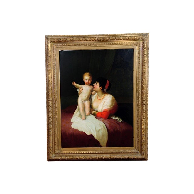 """Mother Playing with Child,"" 19th C. Oil Painting - Image 1 of 9"