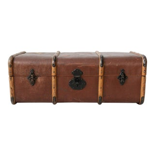 Vintage Swedish Traveling Trunk with Wood Banding
