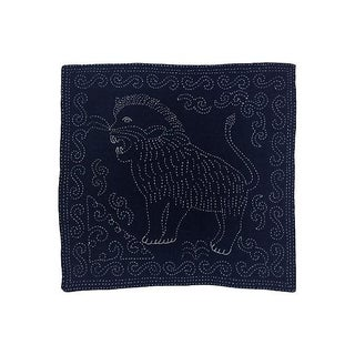 Antique Indigo Panel W/ Hand Embroidered Lion