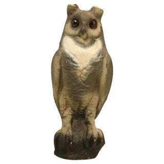 Papier-Mâché American Owl with Glass Eyes