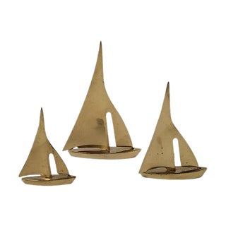 Mid-Century Nautical Brass Sailboats - Set of 3