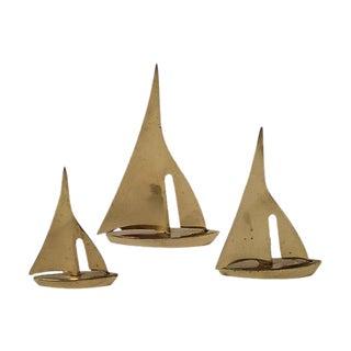 Mid-Century Nautical Brass Sailboats - Set of 3