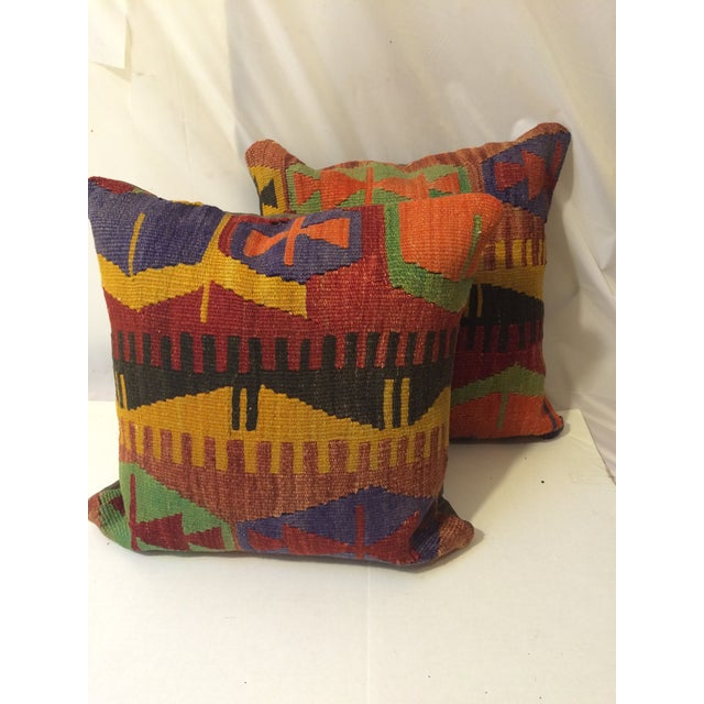Antique Turkish Kilim Pillow Covers - Pair - Image 2 of 6