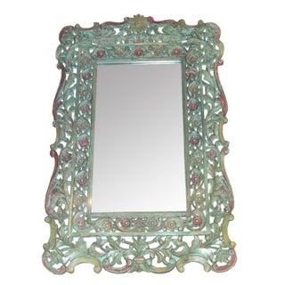 Carved Floral Wood Mirror
