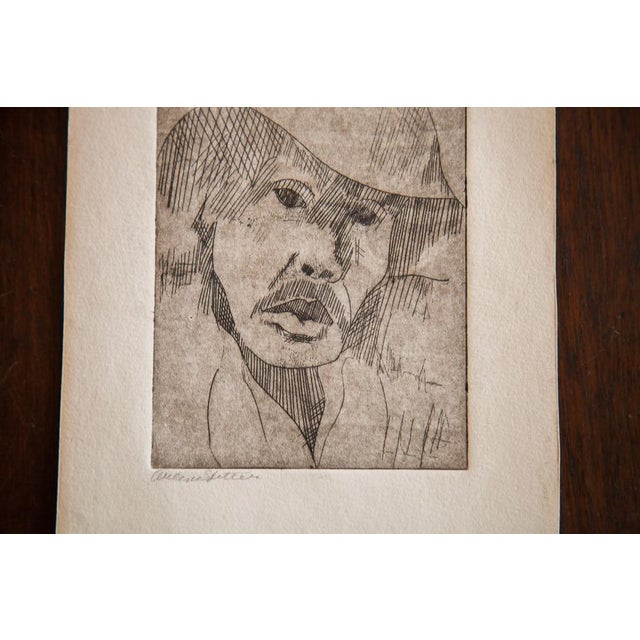 Image of Almond Eye Old Man in Hat Etching