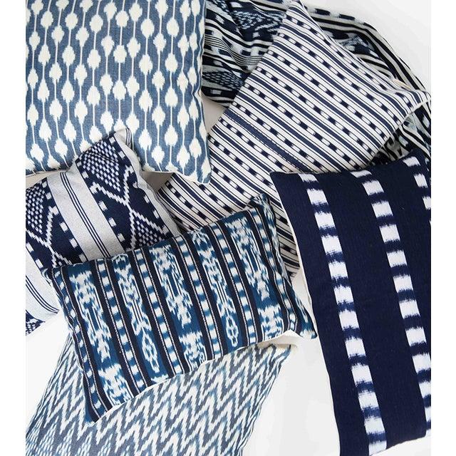 Zigzag Indigo Ikat Handwoven Guatemalan Pillow - Image 7 of 8