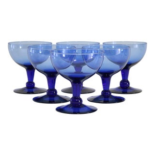 Blue Glass Coupes - Set of 6