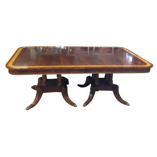 Double Pedestal Dining Table With Inlaid Border