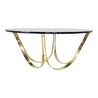 1970s Roger Sprunger for Dunbar Brass and Glass Coffee Table
