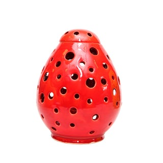 Moroccan Hand Painted Red Egg Lamp Shell