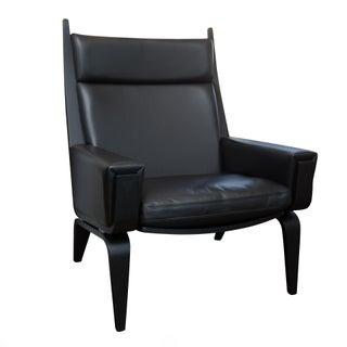 Hans Wegner Getama Black Leather Easy Chair