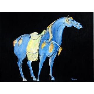 Tang Horse Blue Saddle Painting by Heidi Lanino