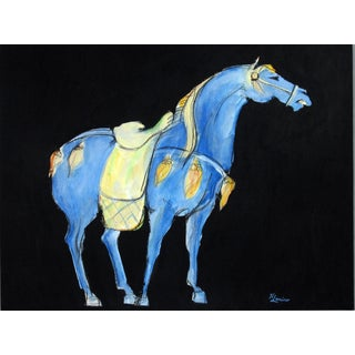 Tang Horse Blue Saddle Painting by Heidi Lanino