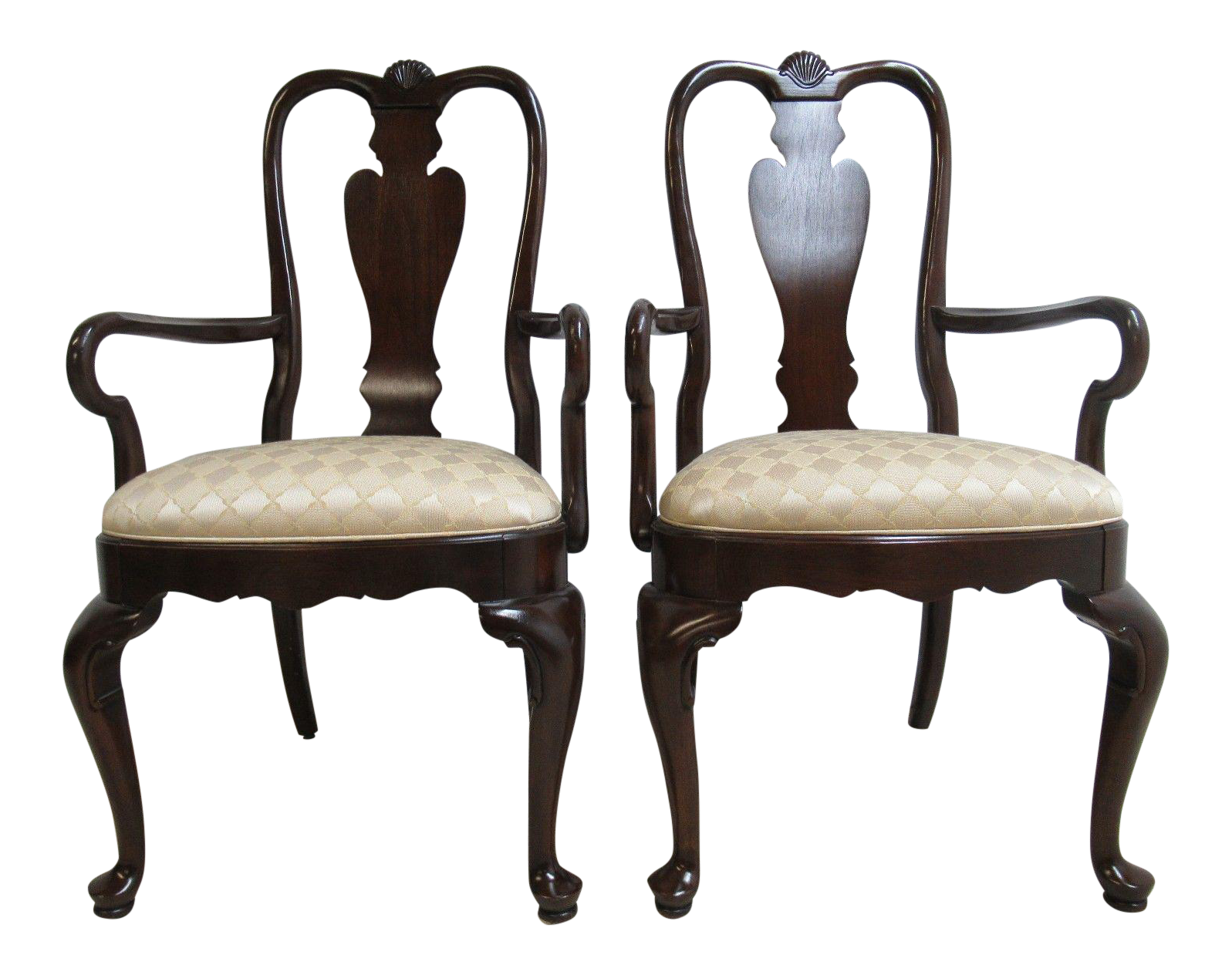 Ethan Allen Georgian Court Shell Carved Dining Chairs   A Pair