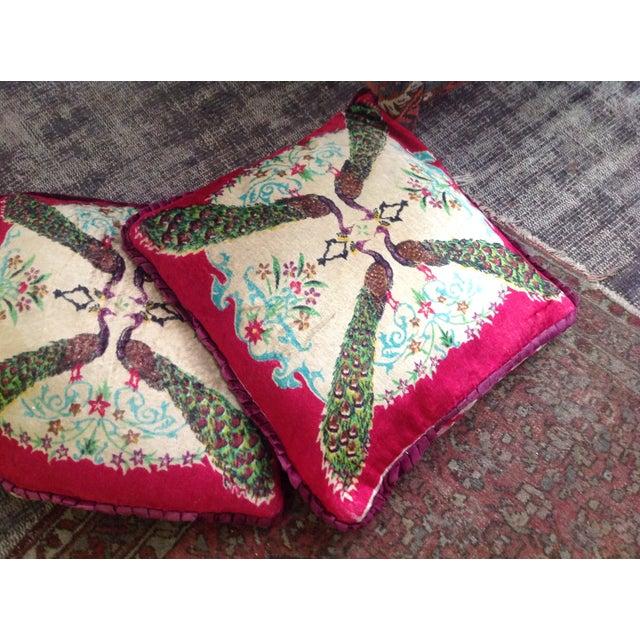 Antique Silk Velvet Persian Peacock Pillows - Pair - Image 3 of 11