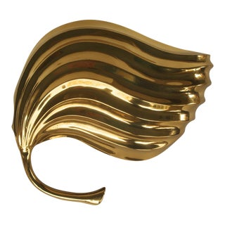 Tommaso Barbi Brass Modernist Leaf Sconce