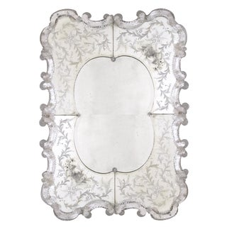 A stunning and shapely Venetian rectangular etched mirror