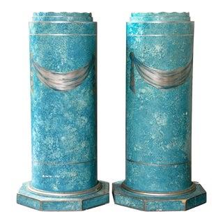 Blue Painted Pedestals - A Pair