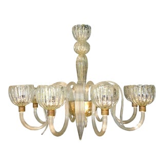 Large Clear Murano Glass Barovier Chandelier, mid century