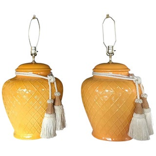 Yellow Glazed Ceramic Jardinière Lidded Vase Lamps - A Pair