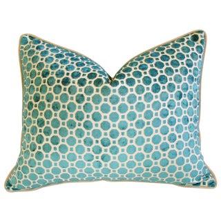 Turquoise Geometric Dot Velvet Feather/Down Pillow
