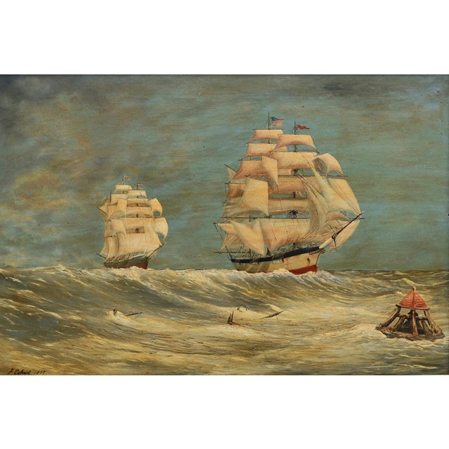 VIntage 1870s Schooners Under Sail Oil Painting - Image 2 of 3
