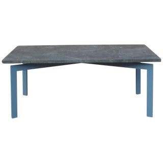 Grey Stone Dining Table with Blue Steel Base