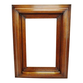 Large Vintage Wood Framed Beveled Mirror