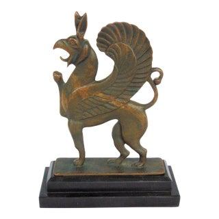 Bronze Griffin on Marble Base