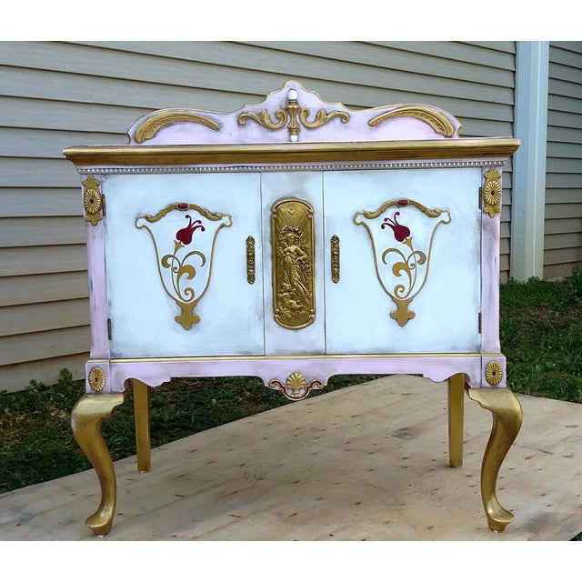Custom Hand Painted Queen Anne Style Server - Image 3 of 9