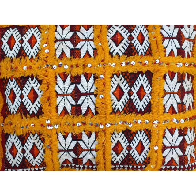 Orange Grid & Sequins Berber Pillow II - Image 2 of 3