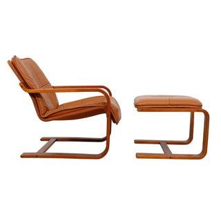Scandinavian Modern Leather Chair & Ottoman