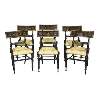 Set of 6 Ebonized & Gilt Baltimore Painted Chairs