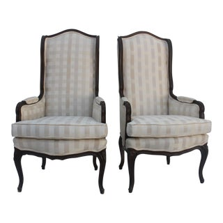 French Provincial Carved Wood Arm Chairs - A Pair