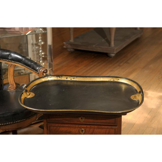 Vintage Regency English Black & Gilt Tole Tray - Image 6 of 6