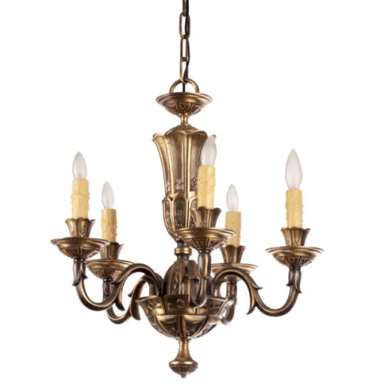 French Gilded Bronze Chandelier circa 1920's - Image 1 of 9