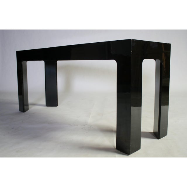 Parson Style Black Lacquered Console Table and Benches - Image 4 of 11