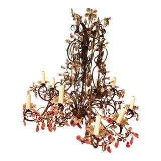Bronze & Crystal Floral Chandelier