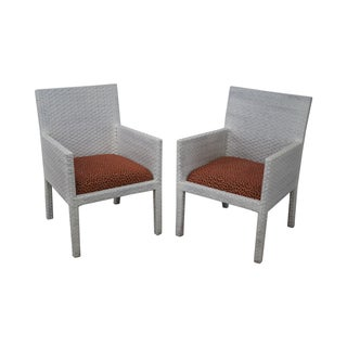 White Woven Leather Arm Chairs - A Pair