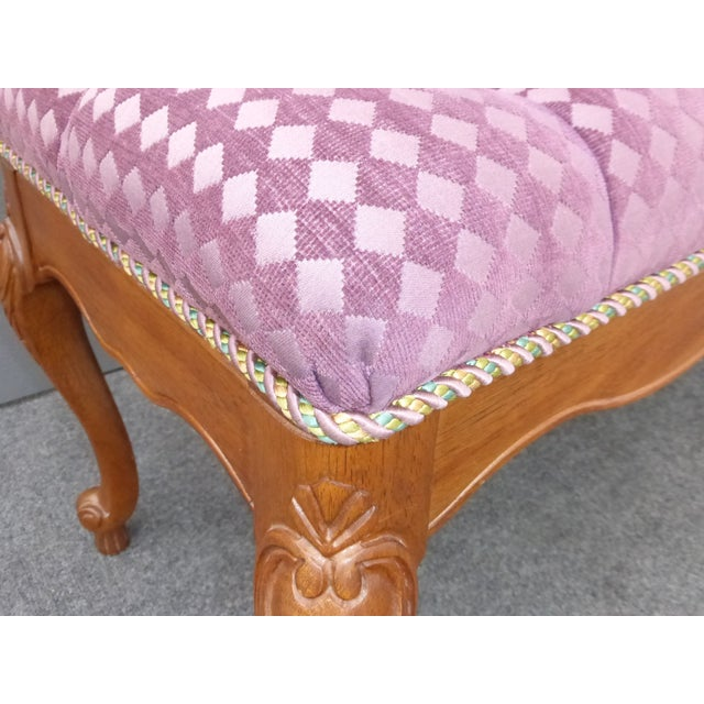 French Purple Velvet Diamond Tufted Bedside Bench - Image 7 of 8