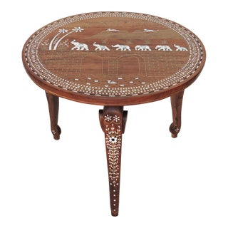 Inlaid Indian 'Elephant Caravan' Teak Table